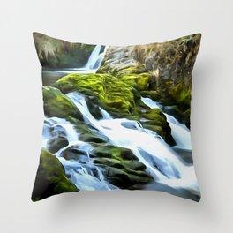 Ingleton Waterfall (Painting) Throw Pillow