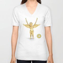 Gold Angel Pendant and Chain Trompe L'oeil YC Unisex V-Neck