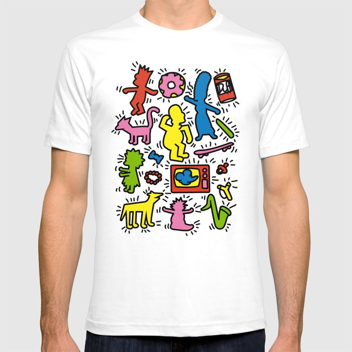 keith haring simpsons t shirt by leduc society6. Black Bedroom Furniture Sets. Home Design Ideas