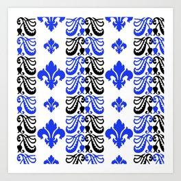Fluer de Lis Custom Blue Art Print