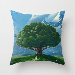Chibi big tree Throw Pillow