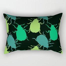 Green Beetle Bug Pattern Rectangular Pillow