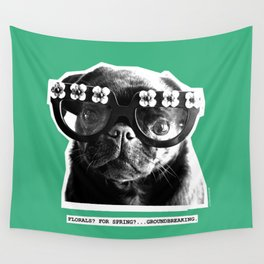PUG SUKI - FLORALS FOR SPRING - MINT GREEN Wall Tapestry