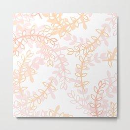 Kay - Blush and Pink Floral Print Metal Print