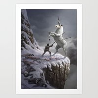 the last unicorn Art Prints featuring The Last Unicorn by Ture Ekroos