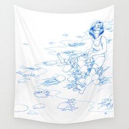 Jellyfish Beach (line) Wall Tapestry