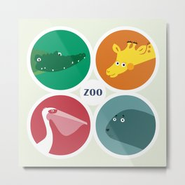 Four friendly zoo animals Metal Print