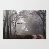 bible verse Canvas Prints featuring Walk by Faith Bible Verse by Quote Life Shop