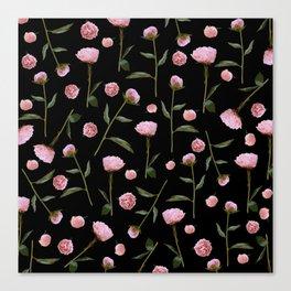 Peonies on Black Canvas Print