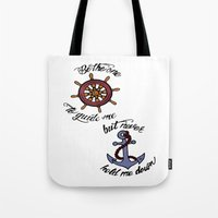 larry stylinson Tote Bags featuring Helm and Anchor. (Larry Stylinson) by Arabella