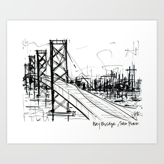 SF Bay Bridge Art Print
