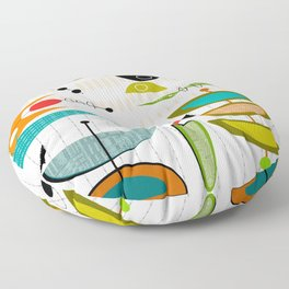 Mid-Century Modern Abstract Atomic Art Floor Pillow