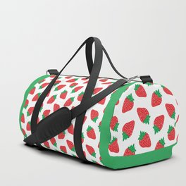 Cream Strawberries Pattern Duffle Bag