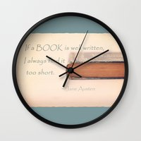 jane austen Wall Clocks featuring Jane Austen by Sparrow House Photography