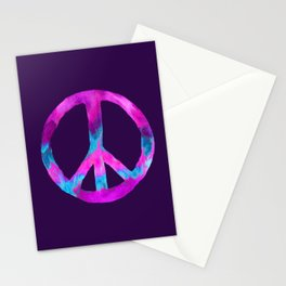 Purple Turquoise Watercolor Tie Dye Peace Sign on Purple Stationery Cards