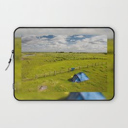Camping tent and grass expanse Laptop Sleeve