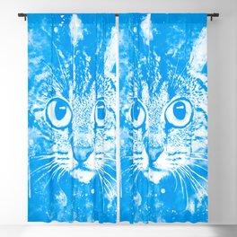 cat big eyes wswb Blackout Curtain