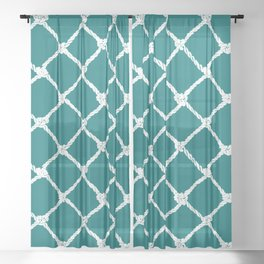 Nautical Rope in White on Teal Design Sheer Curtain