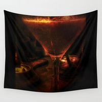 martini Wall Tapestries featuring Strawberry Martini by Geni