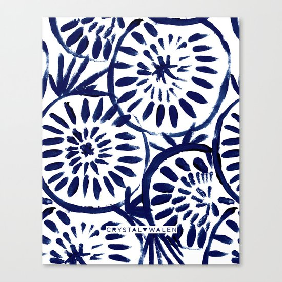 Painted Medallions Navy Canvas Print