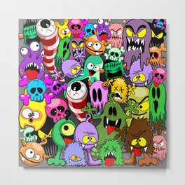 Monsters Doodles Characters Saga Metal Print