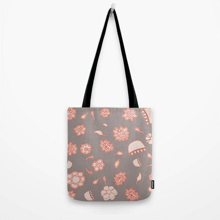 floral black and red Tote Bag