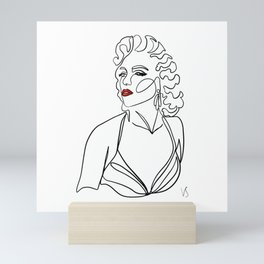 Vintage movie star - one continuous line ink abstract drawing. Mini Art Print