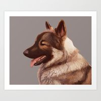 german shepherd Art Prints featuring German Shepherd by Lauren Rakes