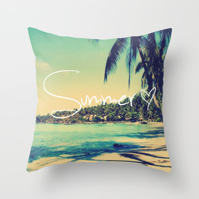 Summer Love Vintage Beach Throw Pillow by rexlambo Society6