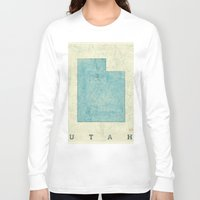 utah Long Sleeve T-shirts featuring Utah State Map Blue Vintage by City Art Posters