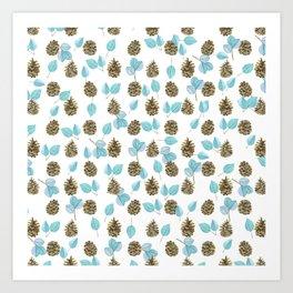 Modern teal brown botanical leaves pinecone pattern Art Print