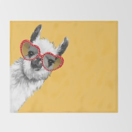 Fashion Hipster Llama with Glasses Throw Blanket
