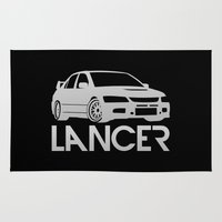 subaru Area & Throw Rugs featuring Mitsubishi Lancer Evo - silver - by Vehicle
