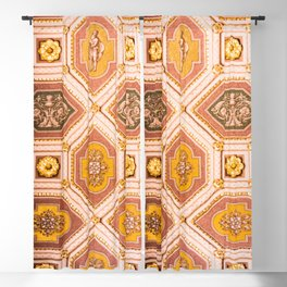 Yellow and Pink Hungarian Architectural Ceiling Photograph Abstract Art Print Blackout Curtain