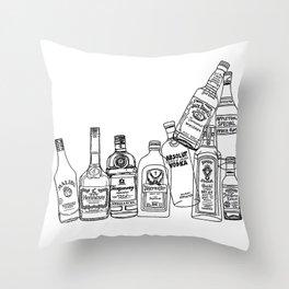 Alcohol Bottles (White) Throw Pillow