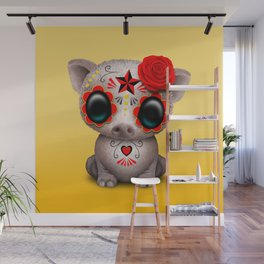 Red Day of the Dead Sugar Skull Baby Pig Wall Mural
