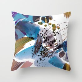 Colorful abstract splattering and brushstrokes Throw Pillow