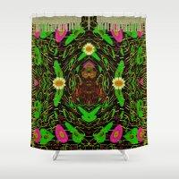 grafitti Shower Curtains featuring Lady Pandas Jungle grafitti by Pepita Selles