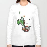 yoshi Long Sleeve T-shirts featuring Yoshi Tetris by Tombst0ne