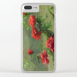 Red Roses in Soft Sunlight Clear iPhone Case