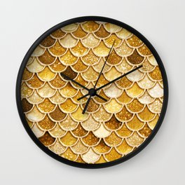 Gold Trendy Glitter Mermaid Scales Wall Clock