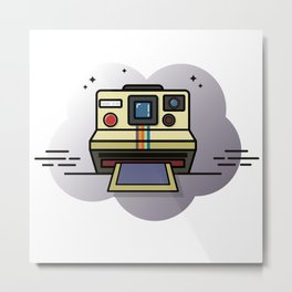 retro camera graphic Metal Print