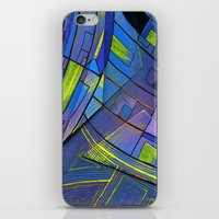 cities iPhone & iPod Skins featuring Purple cities by Squidfeathers