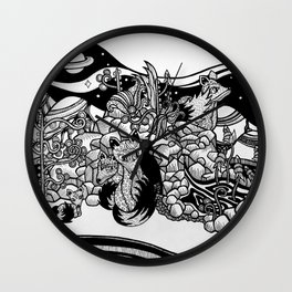Space foxes Wall Clock