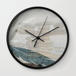 Zen Stacked Rocks on Beach Graphic Feathers and Branches Wall Clock