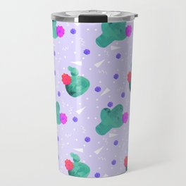 Hello Cactus Lavender Background Travel Mug