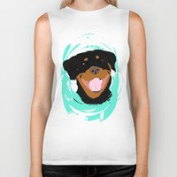 rottweiler Biker Tanks featuring Rottweiler graphic on Mint by Moni & Dog