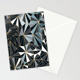 Stylish Art Deco Geometric Pattern - Black, blue, Gold #abstract #pattern Stationery Cards
