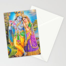 Radha Krishna Playing Flute Lakshmi Hindu Art Yoga Spiritual Stationery Cards