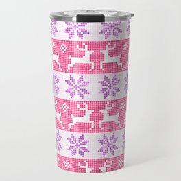 Watercolour Fair Isle in Pink & Purple Travel Mug